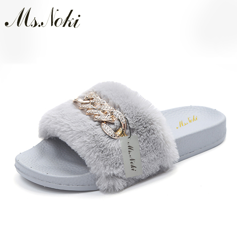 Ms Noki Women Fur Slippers Fashion Flip Flops Sandals Plush Warm Home Slippers Metal Summer Comfortable Woman Flats Beach Shoes