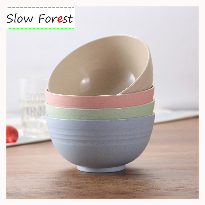 4PCS Rice Bowl Wheat Straw Containers for Lunch Creative Water Ripple Household High Capacity Soup Bowl 15x8cm/6x3in