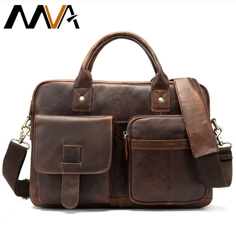 MVA 서류 가방 남자 정품 가죽 가방 컴퓨터 포트폴리오 문서 비즈니스 서류 가방 가죽 노트북 가방 14 인치-에서서류 가방부터 수화물 & 가방 의  그룹 1