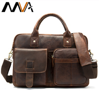 MVA Briefcase Men's Genuine Leather Bag for Men Computer portfolio for documents Business Briefcases leather laptop bag 14inch