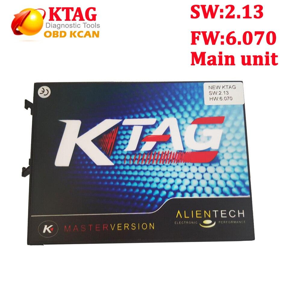 Цена за Новый KTAG V2.13 Оборудования V6.070 основной блок Программирования ECU Сканер К ТЕГ Мастер Версия Без Лексем Ограничено несколькими языками К-TAG