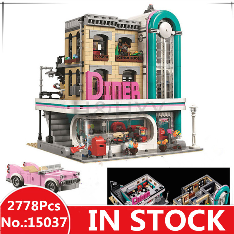 H HXY 15037 2778Pcs 15039 4619Pcs Streetview Series The Downtown Diner Set 10260 LEPIN Building Blocks