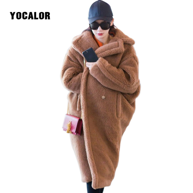 e1802ca5c3 YOCALOR New Teddy Coat Fur Coats For Women Cocoon Thick Warm Long Winter  Faux Lamb Fur Coat Female Outerwear Fourrure Femme