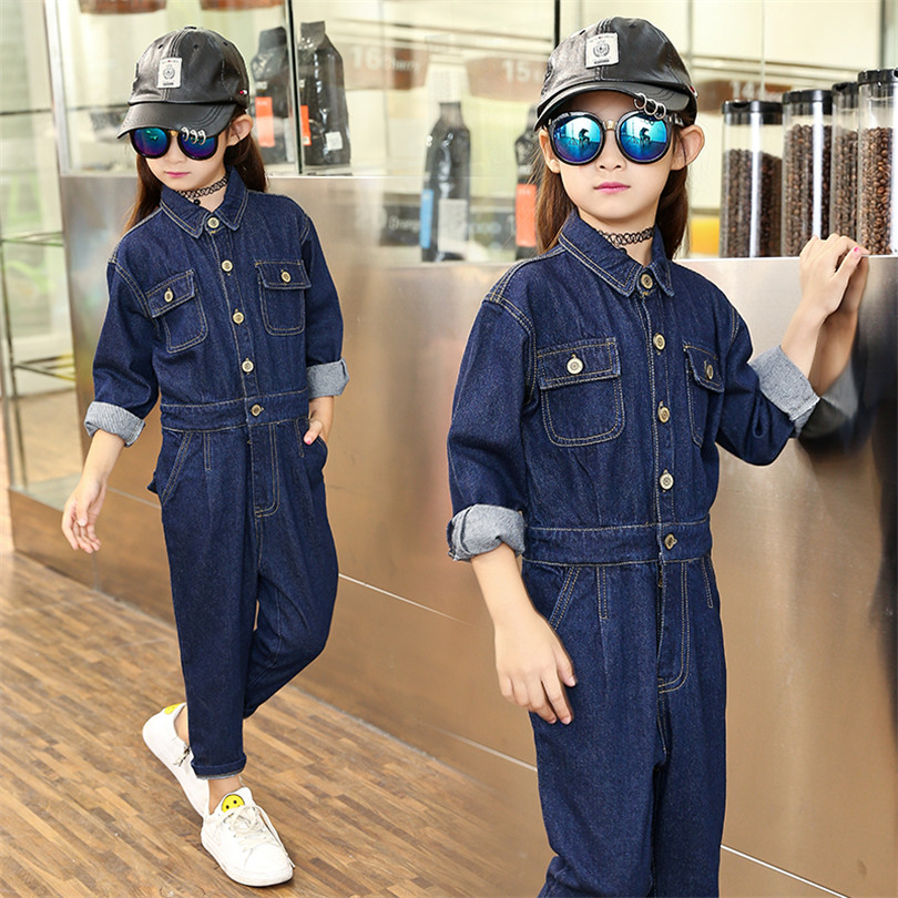 Workers Installed Siamese Jeans for Girl 2017 New Spring  Fashion Child Girl Clothing Long Sleeve V-neck Denim Rompers for Kids развертка машинная kazakh workers 38mm h7 h8
