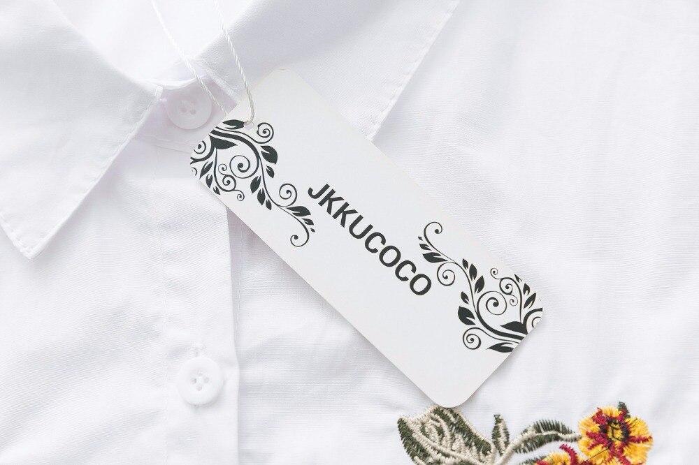 JKKUCOCO Najnowszy Kobiety koszula Ładne Kwiaty Haft bluzka  BGSi2