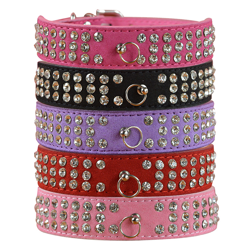 New Fashion 7 Colors 4 Storlekar Suede Soft 3 Rows Rhinestone Dog Collar Puppy Pet Leverantör Halsband