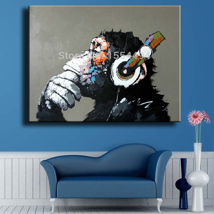 a08465e1093 Framed hand painted large canvas oil painting cartoon animal gorilla monkey  headphones music wall art children's room decor-in Painting   Calligraphy  from ...
