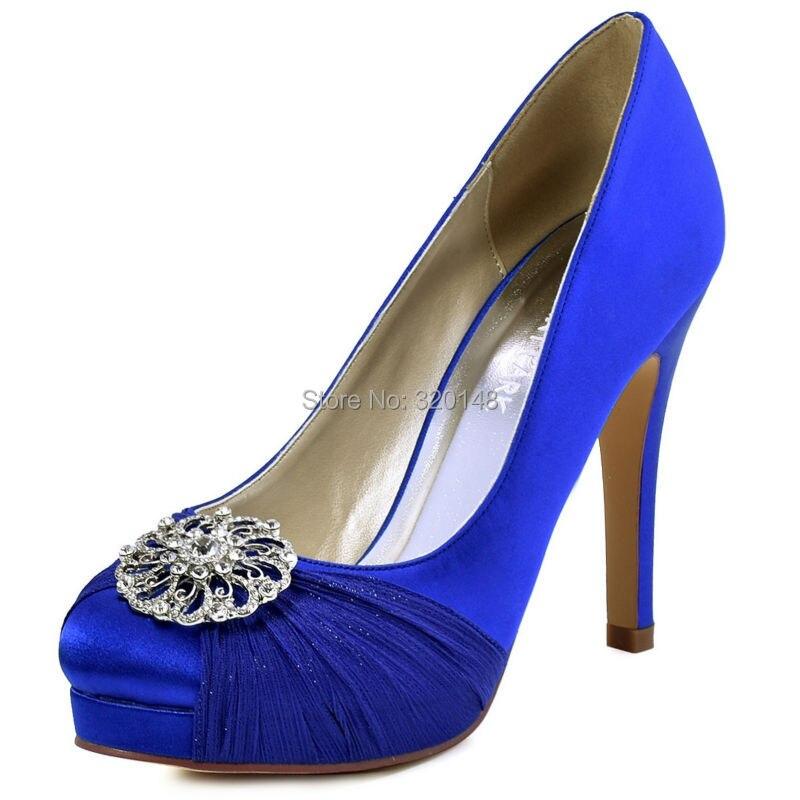 HC1609P Woman Shoes Blue High Heel Closed Toe Platform
