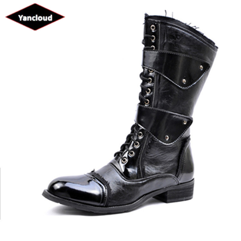 Mens Knight Boots 2019 Mid Leg Patent Leather Boots Long Military Boots For Man Waterproof Work Shoes Male Winter Men's Shoes Shoes