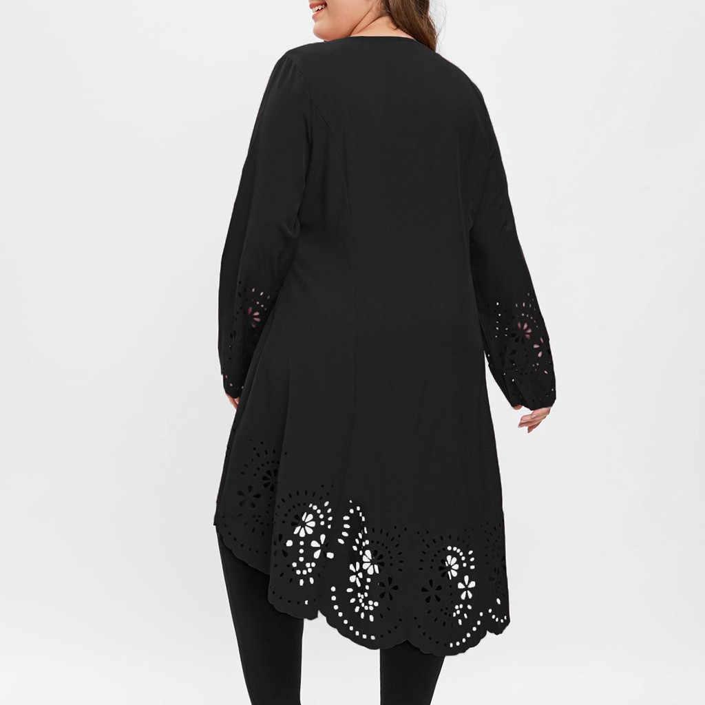 TELOTUNY Signore Vestito Delle Donne di Modo O-Collo Manica Lunga Più Il Formato del Taglio del Laser di Alto Basso Scava Fuori Il Vestito Delle Donne di Modo del Vestito jan22