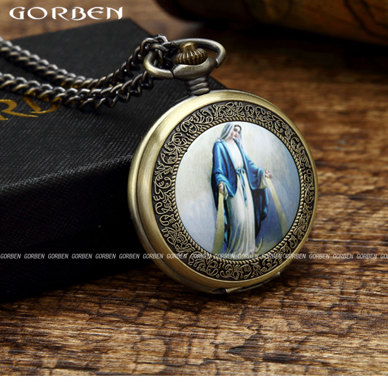 Retro Blessed Virgin Mary Portrait Pocket Watch Womens Mens Blue Robe Classic Christian Catholicism Religious Faith Watches GO52
