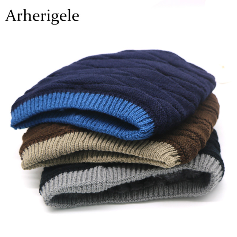 Arherigele 1pcs Thicken Warm Knitted Hat for Winter Men's Hats   Beanie   Hat Fashion Casual Women Caps Solid Color   Skullies     Beanies