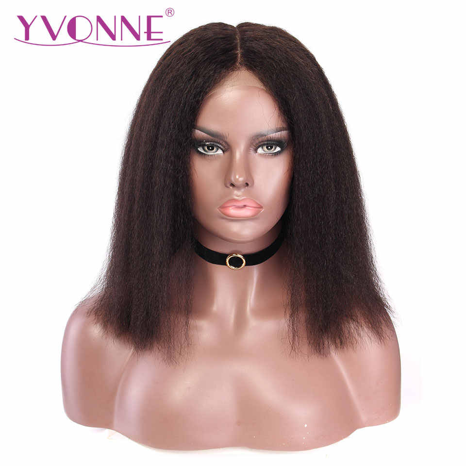 YVONNE 13x4 Kinky Straight Short Bob Wigs for Women Brazilian Virgin Lace Front Human Hair Wig Natural Color