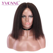 YVONNE 13x4 Kinky Straight Short Bob Wigs for Women Brazilian Virgin Lace Front Human Hair Wig Natural Color(China)