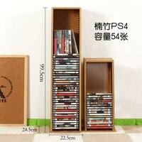 ความจุสูงวัสดุไม้ไผ่แท่นวาง CD DVD Rack PS4 เกมเก็บ Blu - Ray Disc ชั้นวางสีดำฟิล์ม Rack CD รับ rack