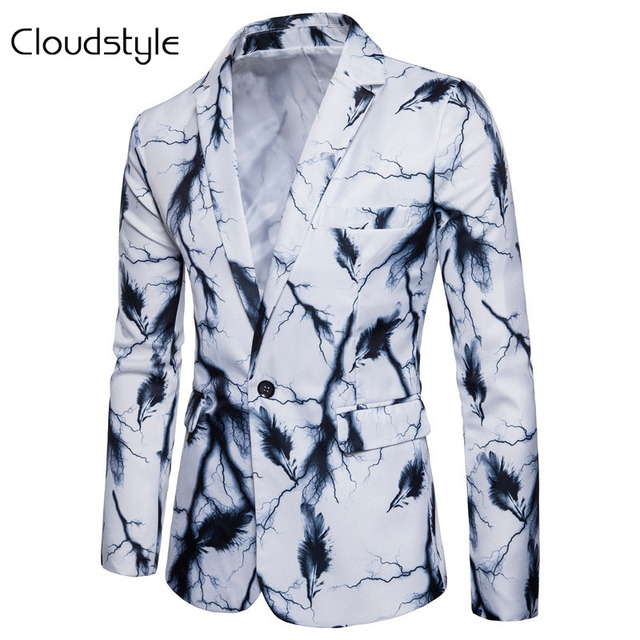 Cloudstyle 2018 New Men Party Blazer Spring Autumn Suit Jacket Wearing Lightning Feathers Digital Printing Young Cothings