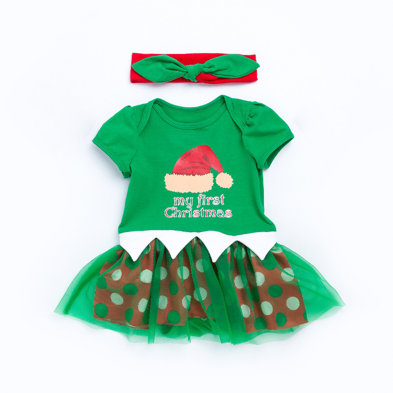 2PCS/Sets Christmas Baby Girl Clothing Green Santa Hat Costume Baby Rompers Infant Bebe Jumpsuit+Headband Outfit Babies Clothes