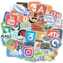 50Pcs/Lot Programming Stickers Internet Java JS Php Html Cloud Docker Bitcoin Logo For Geeks Hackers Developers DIY Laptop Phone