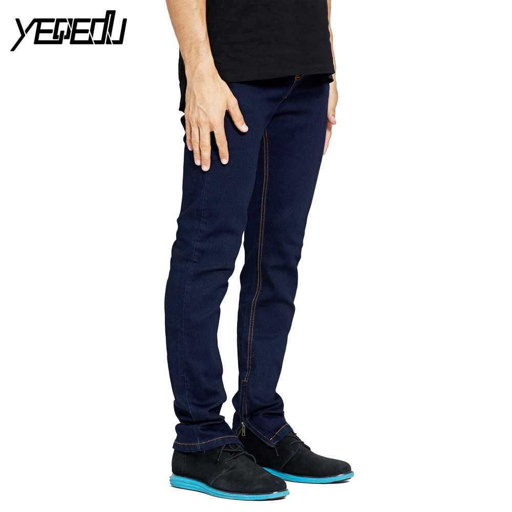 #2111 2018 Dark blue Bottom side zipper Fashion Stretch Skinny jeans Mens jogger jeans H ...