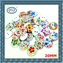 HL 10/30/50pcs 2 Holes Wood Buttons Scrapbooking Clothing Accessories 20mm Sewing Handmake Painted Craft