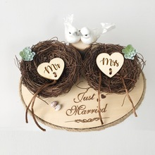 1pcs lot Personalized Rustic Wedding Wood Ring Box Holder Custom Your Names and Date Bearer