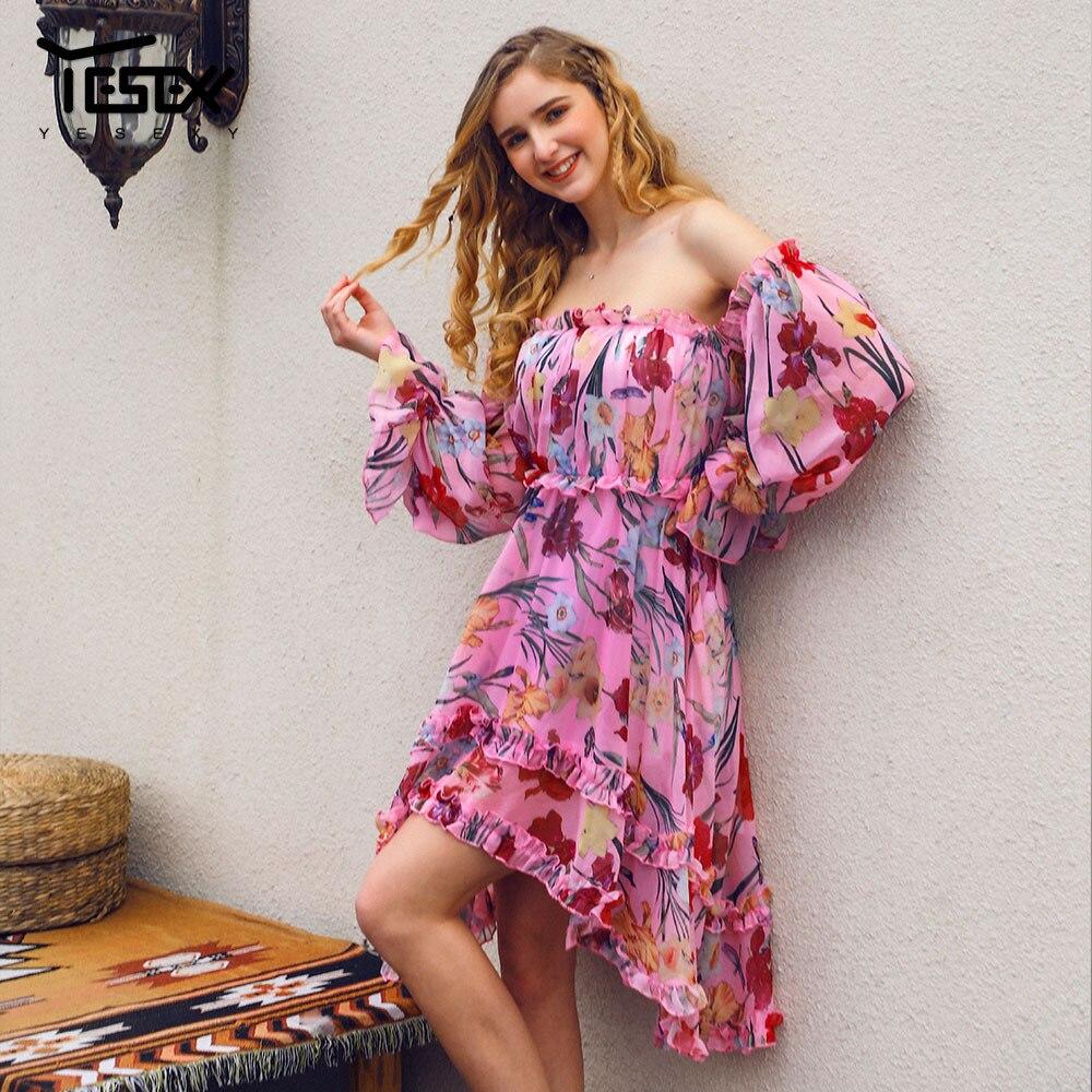 Yesexy 2020 Summer Women Dress Print Slash Neck Off The Shoulder Sexy Full Sleeveless Women Casual Dress Summer Dress VR18851