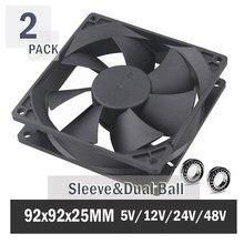 2PCS Gdstime 90mm 92mm Computer Case Fan 92x92x25mm 5V 12V 24V 48V 2PIN 3PIN USB Cooling Cpu Cooler Fan 9225 Sleeve/Ball Bearing