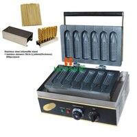 Коммерческий Электрический палку хот дог Лолли вафель + SS держатель + бамбуковой шпажке