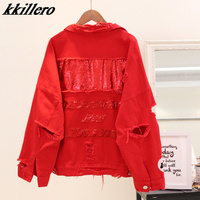 2019 Women's Harajuku embroidery letter patch bomber jacket women Red Ripped Denim Coat Female