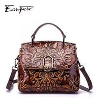 New Arrival ESUFEIR Genuine Leather Luxury Handbags Women Shoulder Bags Designer Vintage Messenger Bag Brand Women