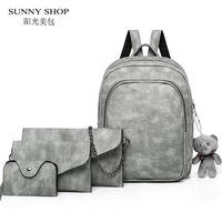 4 Pieces Cute Backpack Set For Teenage Girls With Teddy Bear Small School Backpack Satchel Vintage PU Leather Book Bag Purse