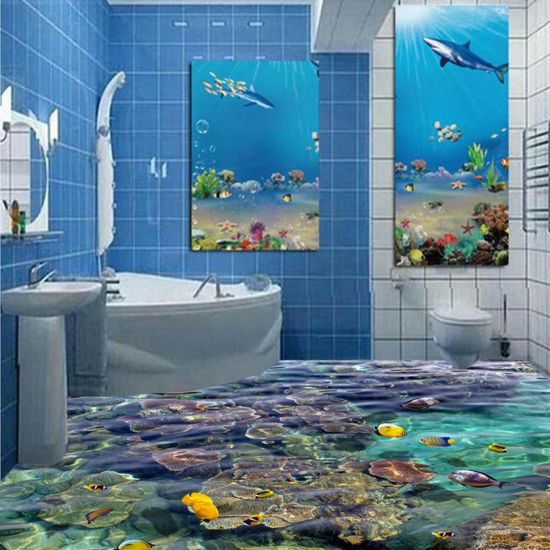 Free Shipping self-adhesive floor mural Coral tropical fish 3D floor painting sticker studio dancing room floor wallpaper free shipping hd 3d stereo coral reef tropical fish bathroom bedroom floor painting wallpaper self adhesive floor mural