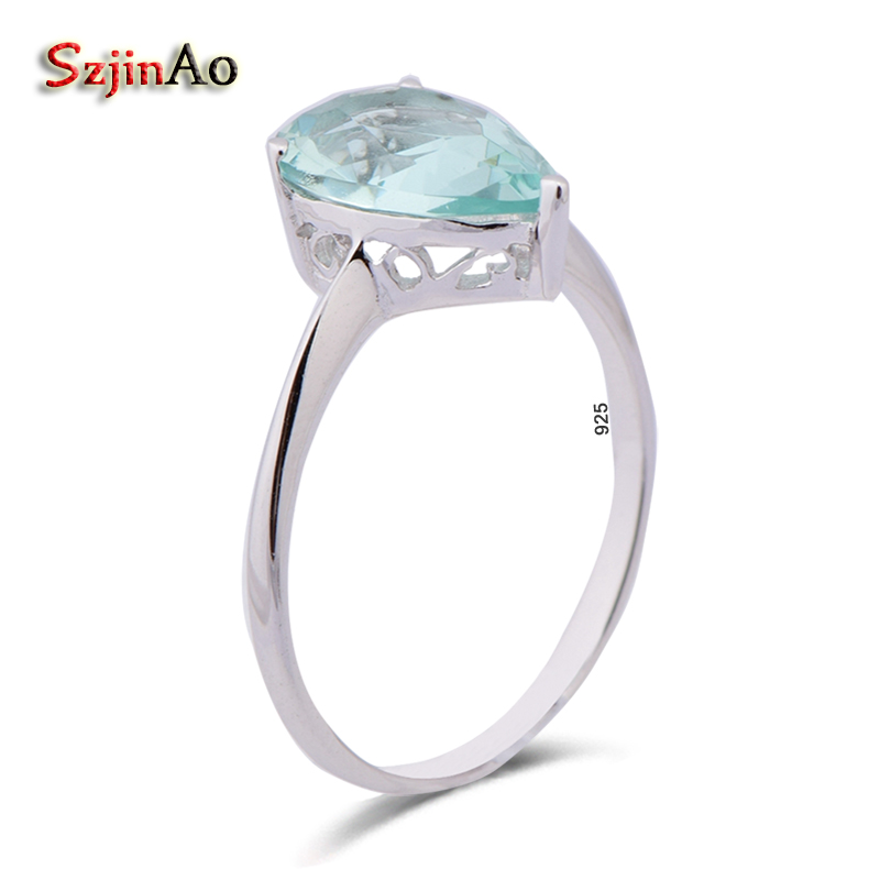 Szjinao 925 Sterling Silver Light Aquamarine Rings For Women Birthday Gift Vintage Handmade Gifts Wholesale Valentines Day
