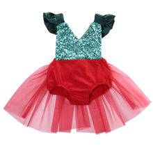 Green Red Newborn Infant Baby Girl Romper Tulle Tutu Dress Jumpsuit Sunsuit Outfits Xmas Christmas Backless Costume(China)