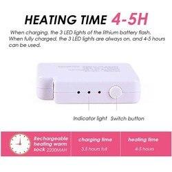 1 paar Verstelbare Temperatuur Oplaadbare Batterij Elektrische Verwarmde Sokken Voeten Warmer KNUFFEL-Aanbiedingen