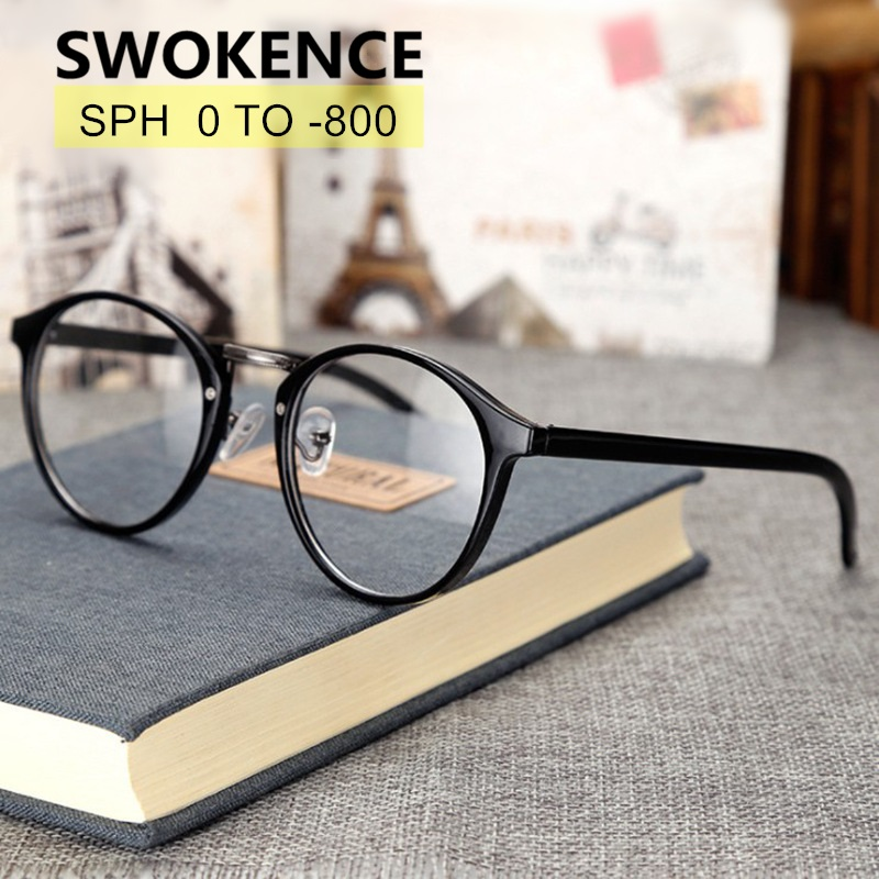 SWOKENCE SPH -0.5 To -8 Prescription Myopia Glasses Custom-made Men Women Round Frame Photochromic Spectacles Nearsighted WP005