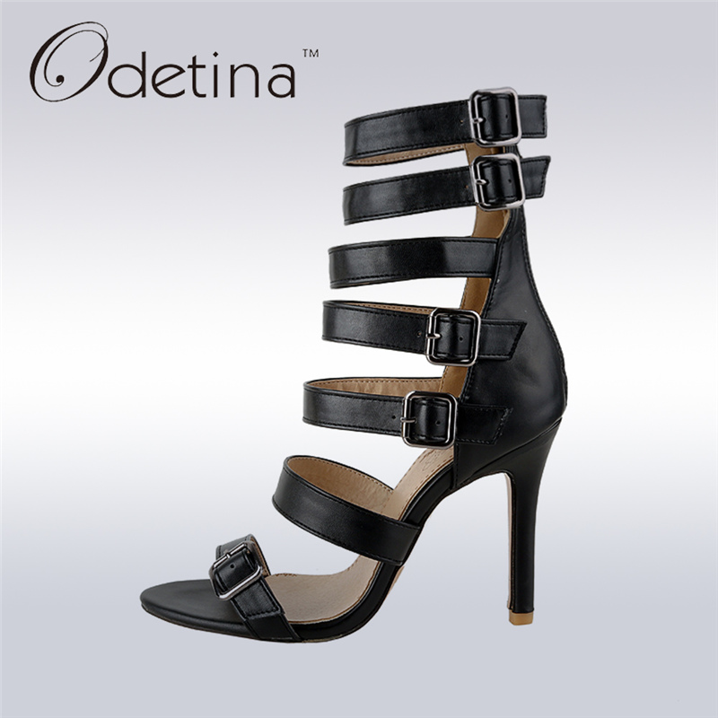 Odetina 2017 Fashion Women Gladiator Sandals High Heels Buckle Ankle Strap Peep Toe Thin Heel Summer Party Shoes Big Size 32-46 wholesale lttl new spring summer high heels shoes stiletto heel flock pointed toe sandals fashion ankle straps women party shoes