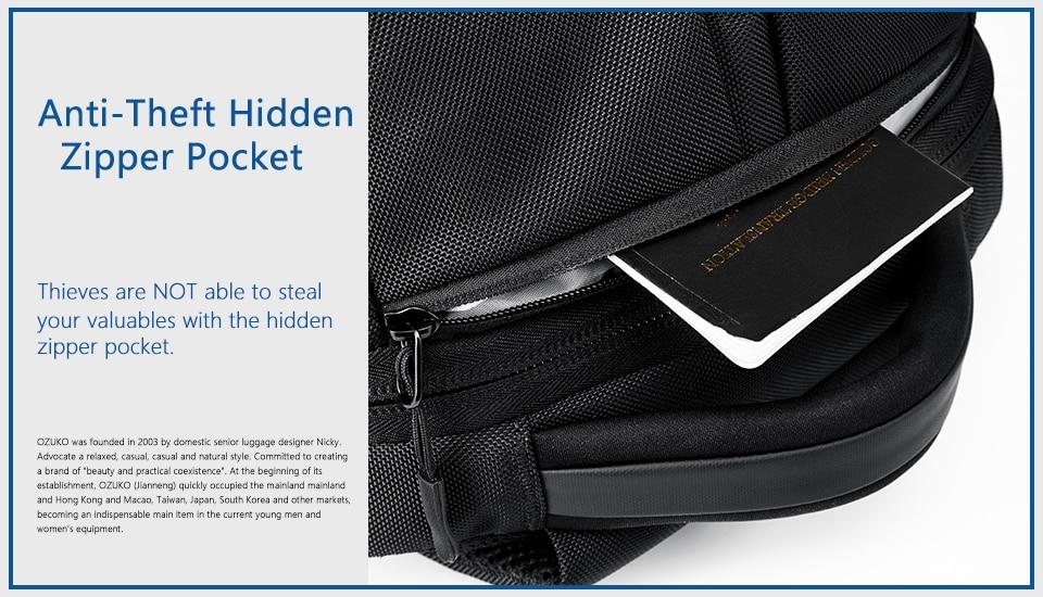 防盗隐形拉链口袋