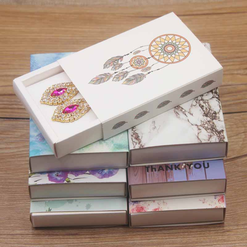 White/kraft Good Luck Dreamcatcher  Jewelry Necklace Set Package Box Marbel Bracelet/ring Display Box Flower Design Earring Box