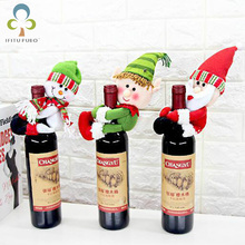 Santa Claus Snowman Doll Wine Champagne Bottle Hugging Holder Cover Party Table Decora Christmas Decoration Accessories GYH(China)