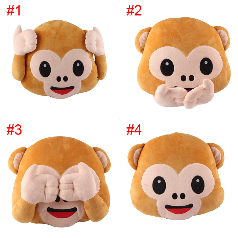 New Emoji Pillows For Whats App No Speaking No Looking No Listening  Monkey Pillow Cushion Stuffed & Plush Toys YH-17 s what stylish universal 3 5mm jack wired in ear stereo headset w microphone white coffee