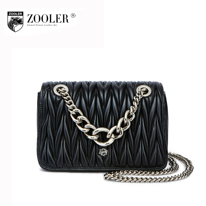 ZOOLER Women Genuine Leather Chain Bag Female 2017 New Winter Ruched Shoulder Messenger Bags Small Sheepskin Evening Clutch Bag 2017 fashion all match retro split leather women bag top grade small shoulder bags multilayer mini chain women messenger bags