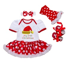 Newborn Girl Clothing Sets Christmas Gifts Romper Sets 4pcs Red Dot Romper Dresses Legging Shoes Headband BEBE Party Baby Outfit