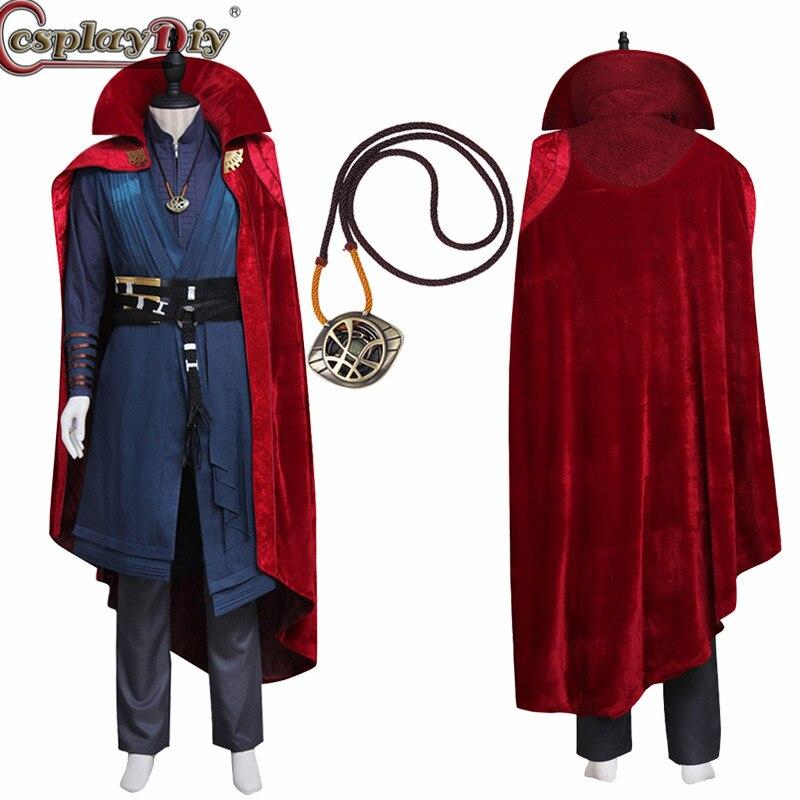 Cosplaydiy docteur étrange Stephen Vincent étrange Cosplay hommes Costume tenue avec collier fête d'halloween carnaval sur mesure
