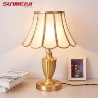 Настольные лампы медный настольный светильник настольный для декора Настольная лампа в спальню лампа настольная на кровати ночники с ткан