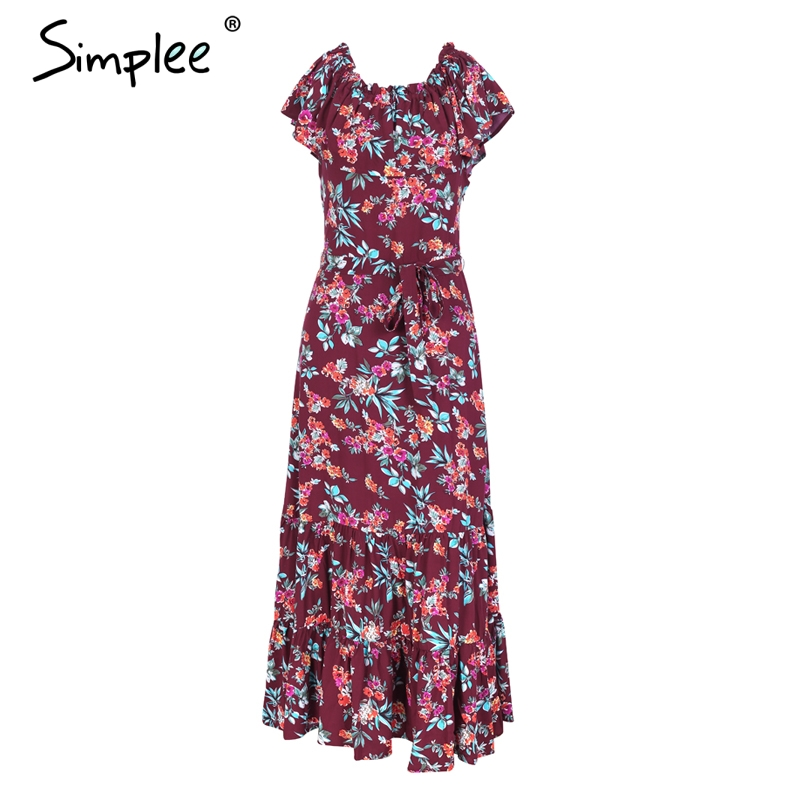 5c48f674020 Simplee Off shoulder floral print summer dress women 2018 Casual boho maxi  dress dress Spring elegant