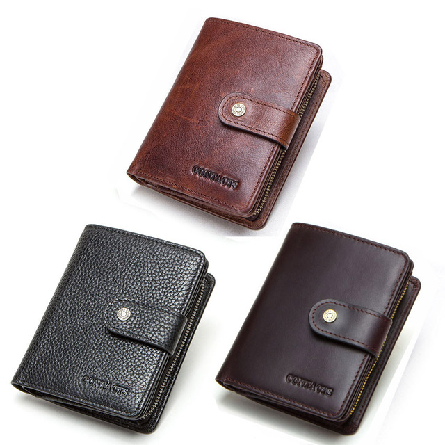 CONTACT'S genuine leather RFID vintage wallet men with coin pocket short wallets small zipper walet with card holders man purse 4