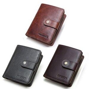 Image 5 - CONTACTS Da Thật Chính Hãng Da RFID Vintage Ví Nam Với Đồng Tiền Túi Ngắn Ví Khóa Kéo Nhỏ Walet Với Ngăn Đựng Thẻ Người Ví