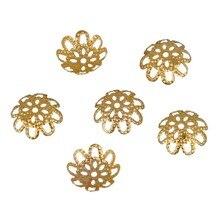 Новый 10 мм 100 шт./лот DIY Золотой Серебристый полый металлический цветок Подвески из бисера колпачки для изготовления ювелирных изделий