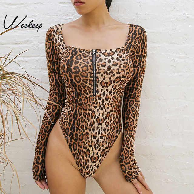 Weekeep Bodycon Leopard Long Sleeve Bodysuit Women High Street Sexy Square  Collar Zipper Bodysuits Spring Autumn Romper Women d3832b9a1